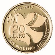 San Marino / 20 Euros / Gold .900 / 6.451 g / 21mm / Design: Antonella Napolione (obverse) and Andrew Lewis (reverse) / Mintage: 500.