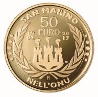 San Marino / 50 Euro / Gold .900 / 16,129 g / 28 mm / Design: Antonella Napolione (Vorderseite) und Andrew Lewis (Rückseite) / Auflage: 500.