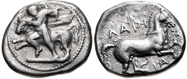 Lot 45: Thessaly, Larissa. Circa 420-400 BC. Drachm. Very fine. From the BCD Collection. Estimate: 100 USD.