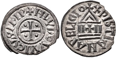 Lot 500: Carolingians. Louis 'le Pieux' (the Pious), as Emperor Louis I, 814-840. Denier. Assigned by Coupland to Melle. Struck 822-840. From the Simon Coupland Collection. Near EF, slightly irregular flan. Estimate: 300 USD.