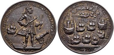 Lot 706: Hanover. Edward Vernon, 1684-1757. Bronze medal. Capture of Portobello. Dated 22 November 1739. EF, underlying luster. Estimate: 150 USD.