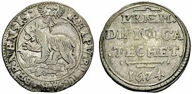 Katechismuspfennige: ab 1622 bis ca. 1676. Für das Auswendiglernen des (grossen) Heidelberger-Katechismus gab es einen ganzen Dicken (1/4 Taler), für das Auswendiglernen des (kleinen) Berner-Katechismus einen halben Dicken.