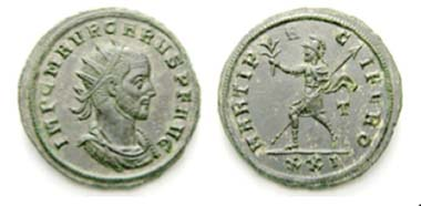 234 Carus (282-283). Antoninian, Sicia, 283. Rev. MARTI PACIFERO / T / XXI Mars with spear and branch l. RIC -. C -. FDC. Estimate: 250 CHF. End result: 1,380 CHF.
