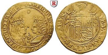 Spanien. Ferdinand V. und Isabella, 1474-1504. Doppelter Excelente o.J., Sevilla. vz/ss-vz. 3.250 Euro.
