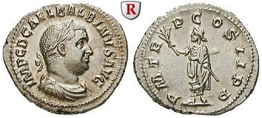 Römische Kaiserzeit. Balbinus, 238. Denar, Rom. Kl. Kratzer auf Vorderseite, vz+. 950 Euro.