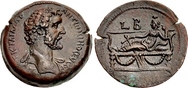 Lot 112: Egypt, Alexandria. Antoninus Pius, AD 138-161. Drachm, dated RY 2 (AD 138/139). EF, attractive reddish brown patina with touches of green. From the Giovanni Maria Staffieri Collection. Estimate: 3,000 USD.