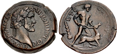 Lot 152: Egypt, Alexandria. Antoninus Pius. AD 138-161. Drachm, labors of Herakles series, dated RY 4 (AD 140/141). Good VF, lovely dark brown patina with smooth surfaces. Very rare. From the Giovanni Maria Staffieri Collection. 	Estimate: 15,000 USD.