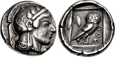 Attica, Athens. Didrachm. Circa 475-465 BC. Near EF, beautifully toned. Very rare. Well centered on a broad flan. Ex Harald Salvesen Collection. Estimate: 50,000 USD.
