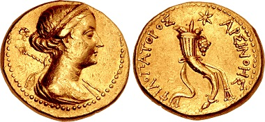 "Ptolemaic Kings of Egypt. Arsinoe III Philopator, died 204 BC. Mnaieion – ""Oktadrachm"". Uncertain military mint in Phoenicia, struck under Ptolemy V, circa 202-200 BC. Good VF, a few marks. Extremely rare, one of two known. Estimate: 50,000 USD."