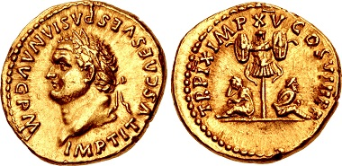 "Lot 739: Titus, AD 79-81. Aureus, ""Judaea Capta"" commemorative. Rome mint, struck 1 January-30 June AD 80. EF, underlying luster, a few minimal marks. Very rare, especially in this high grade. Estimate: 50,000 USD."