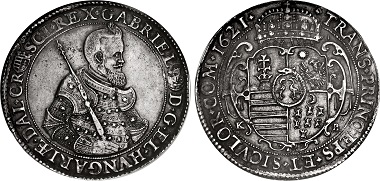 Lot 1188: Transylvania, Principality. Gábor Bethlen, 1613-1629. Taler. Körmöcbánya (Kremnitz / Kremnica) mint, dated 1621 KB. In NGC encapsulation graded XF. Details, edge filed, cleaned. Toned. From the Princeps Collection. Estimate: 2,000 USD.