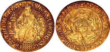 Lot 1438: Tudor. Elizabeth I. 1558-1603. Sovereign. Sixth issue. Tower (London) mint, struck 1584-1586. In NGC encapsulation, graded AU 55. From the Jonathan P. Rosen Collection. Estimate: 20,000 USD.
