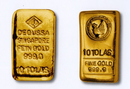 Gold bars from the Degussa gold collection.