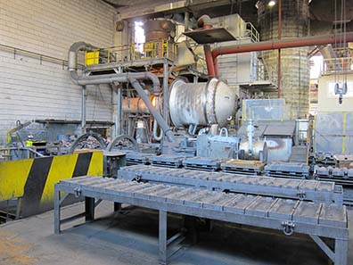 The rotary furnace has a capacity of 5 tons of precious metal bearing material. Photo: UK.