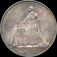 Die Rückseiten der beiden gefälschten Bayerischen Krönungstaler.