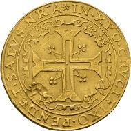 Joachim II. Portugalöser zu 10 Dukaten 1570, Berlin. Sehr schön. Taxe: 200.000 Euro. Aus Auktion Künker 300 (2018), Nr. 7.