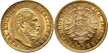 Lot 791: Karl, 1864-1891. 5 Mark 1877. J. 291. Extremely fine. Estimate: 350 euros.