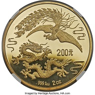 "1989 People's Republic gold ""Dragon and Phoenix"" Proof Pattern 200 Yuan PR69 Ultra Cameo NGC. Realized: 408,000 USD."