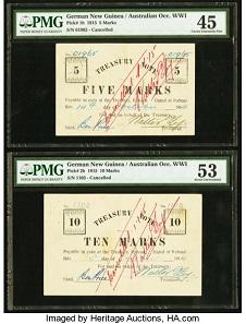 Set of four German New Guinea Australian Occupation WWI notes. Estimate: USD 200,000-240,000.
