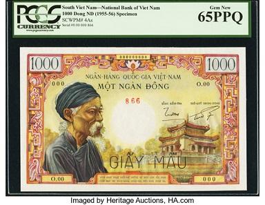 South Vietnam. National Bank of Viet Nam, 1000 Dong ND (1955-56). Pick 4As Specimen. Estimate: USD 40,000-50,000.