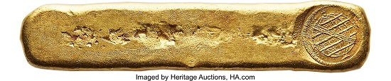 Joao, Prince Regent. Massive gold Ingot of Vila Rica, 1814. Estimate: USD 200,000-250,000.