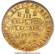Charles I. Gold Triple Unite, 1643. MS61 NGC. Estimate: USD 200,000-250,000.