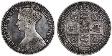 Lot 1186: Great Britain. Victoria, 1837-1901. Silver crown, 1847. PCGS graded Proof 62. Estimate: 5,000-7,000 USD.