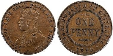 Lot 2151: Australia. George V, 1910-1936. Penny, 1930(m). PCGS graded VF35, RRR. Estimate: 8,000-10,000 USD.