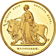 """450 - Great Britain. Victoria, 1837-1901. 5 pounds 1839 """"Una and the Lion"""", London. By W. Wyon. Very rare. Uncirculated. Estimate: CHF 50,000. Hammer price: CHF 140,000."""