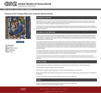 "Database entry: Meister Eckardt's ""Sermo de adventu domini""."