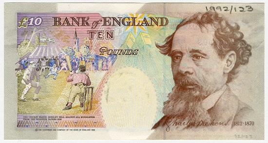 The £10 note which featured Charles Dickens (in circulation from 1992-2003). The portrait was drawn by banknote designer Roger Withington and seems to be based on a number of photographs of Dickens from the 1860s. Photo: Bank of England Museum.