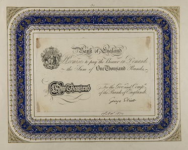 One thousand pound note signed by George Eliot when she visited the Bank of England as a sight-seer in 1874. Photo: Bank of England Museum.