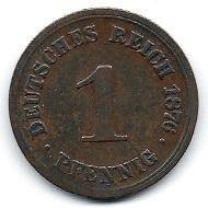 1 Pfennig Deutsches Kaiserreich 1876. Foto: Angela und Reiner Graff.