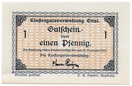 1 Pfennig Gutschein 1917. Foto: Angela und Reiner Graff.