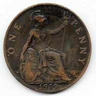 1 Penny Großbritannien 1919. Foto: Angela und Reiner Graff.