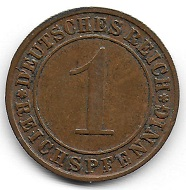 1 Reichspfennig 1925. Foto: Angela und Reiner Graff.