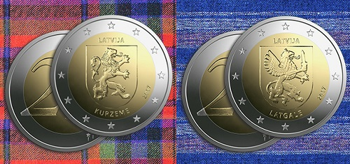 Latvia / 2 Euros / Copper - Nickel - Brass / 8.5g / 25.75mm / Design: Luc Luycx (common side), Laimonis Senbergs (graphic design), Janis Strupulis (plaster model).