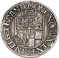 No. 2: Brandenburg-Prussia. Joachim I, 1499-1535. Taler 1521, Frankfurt / Oder. Extremely rare. Very fine. Estimate: 30,000.- euros. The first Brandenburg taler.