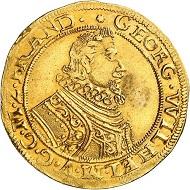 No. 16: Brandenburg-Prussia. Georg Wilhelm, 1619-1640. 2 gold gulden 1621, Berlin. Extremely rare. Extremely fine. Estimate: 25,000,- euros.