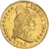 No. 1483: USA. Federation. 5 dollars 1795, Philadelphia. Very rare. PCGS graded MS 61. Extremely fine. Estimate: 35,000,- euros.