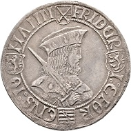 Nr. 2001: Frederick III the Wise, George and John, 1500-1507. Taler n. d., Annaberg. Klappmützentaler. Very rare. Very fine. Estimate: 1,000 Euro.