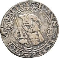 Nr. 2013: Johann, 1525-1532. Taler o. J., Zwickau. Sehr selten. Sehr schön. Taxe: 1.000 Euro.