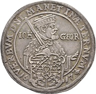 Nr. 2242: John George I, 1615-1656. Reichstaler 1617, Dresden, on the 100-year anniversary of the Reformation. Very rare. Very fine to extremely fine. Estimate: 1,000 Euro.