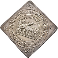 Nr. 2299: John George II, 1656-1680. Reichstalerklippe 1669, Dresden, on the shooting on occasion of the baptism of his grandson John George IV. Almost extremely fine. Estimate: 750 Euro.