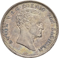 Nr. 2376: Anton, 1827-1836. Convention taler 1828. Yield. Very rare. Extremely fine. Estimate: 750 Euro.