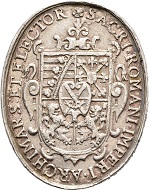 Nr. 2452: John George I, 1615-1656. Oval silver medal, unsigned. Very rare. Very fine. Estimate: 500 Euro.
