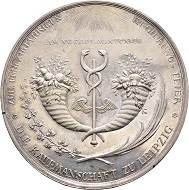 Nr. 2543: Frederick Augustus I, 1806-1827. Silver medal n. d. (1819), of K. W. Höckner, on 50 years of government and the golden wedding with Maria Amalie Auguste of Pfalz-Zweibrücken. Very rare. Extremely fine. Estimate: 200 Euro.