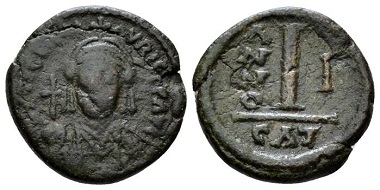 Lot 748: Maurice Tiberius, 582-602. Decanummo. Catania, 582-583 (year 1). From the Spahr Collection. Sold with the collector's ticket. Starting Bid: 30 GBP.