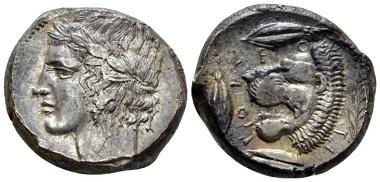 Lot 41: Sicily. Leontini. Tetradrachm, circa 430-425 BC. Starting Bid: 1,000 GBP.
