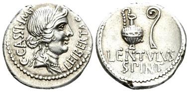 Lot 537: C. Cassius Longinus with Lentulus Spinther. Denarius. Mint moving with Brutus and Cassius, 43-42. Starting Bid: 500 GBP.
